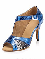 cheap -Women's Latin Shoes PU Heel Performance / Practice Stiletto Heel Dance Shoes Blue