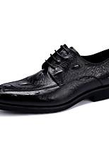 Недорогие -Муж. обувь Кожа Весна Удобная обувь Туфли на шнуровке Черный / Коричневый / Вино
