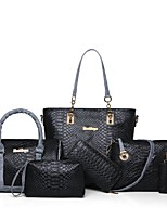 cheap -Women's Bags PU Bag Set 6 Pieces Purse Set Zipper for Formal Beige / Gray / Purple