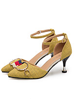 cheap -Women's Shoes Linen Spring & Summer Basic Pump Heels Stiletto Heel Black / Yellow / Khaki