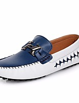cheap -Men's Shoes Leather Summer Moccasin Loafers & Slip-Ons for Outdoor Gold Black White / Blue
