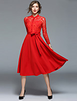 cheap -SHIHUATANG Women's Vintage / Street chic A Line / Swing Dress - Solid Colored Lace