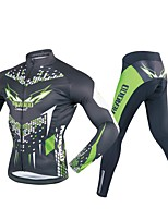 cheap -Men's Long Sleeve Cycling Jersey with Tights - Black / Green Bike Clothing Suits, 3D Pad Polyester / Spandex