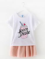 Недорогие -Дети (1-4 лет) Девочки Уличный стиль С принтом С принтом С короткими рукавами Набор одежды