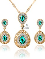 cheap -Women's Jewelry Set - Gold Plated Simple, Fashion Include Hoop Earrings / Choker Necklace / Pendant Necklace Green For Wedding / Daily