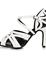 cheap -Women's Latin Shoes Cowhide Sandal Heel Performance Practice Stiletto Heel Black-white