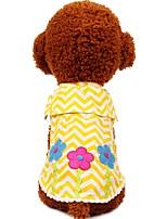 abordables -Chiens / Chats / Animaux de Compagnie Tee-shirt Vêtements pour Chien Rayé / Couleur Pleine / Fleur Jaune / Rouge Coton Costume Pour les