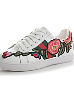 cheap -Women's Shoes Cowhide Spring Comfort Sneakers Flat Heel for Casual White
