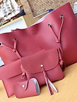 cheap -Women's Bags PU Bag Set 4 Pieces Purse Set Buttons / Tassel Light Gray / Brown / Dark Grey