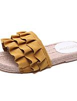 cheap -Women's Shoes PU(Polyurethane) Summer Comfort Slippers & Flip-Flops Flat Heel Round Toe Beige / Yellow / Pink