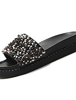cheap -Women's Shoes PU Summer Comfort Slippers & Flip-Flops Flat Heel Round Toe Rhinestone for Casual Black Silver