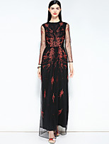cheap -MARY YAN&YU Women's Vintage / Street chic Swing Dress - Solid Colored Lace