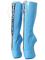 cheap -Women's Shoes PU(Polyurethane) Fall & Winter Novelty Boots Heterotypic Heel Round Toe Knee High Boots Yellow / Pink / Light Blue