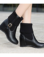 cheap -Women's Shoes PU Winter Fashion Boots Boots Wedge Heel Mid-Calf Boots for Casual White Black Beige