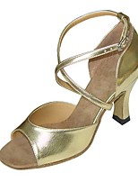 cheap -Women's Latin Shoes PU Sandal / Heel Buckle Flared Heel Customizable Dance Shoes Gold / Black / Silver / Leather / Practice
