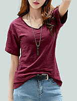 cheap -Women's Street chic T-shirt - Solid Colored