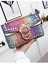 cheap -Women's Bags PU Leather Shoulder Bag Sequin / Crystals Blushing Pink / Rainbow