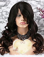 Недорогие -Remy Парик Бразильские волосы Волнистый Стрижка каскад 130% плотность С детскими волосами / Регулируется / раскраска Темно-коричневый