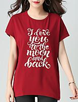 cheap -Women's Cotton Loose T-shirt - Letter