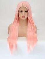 Недорогие -Синтетические кружевные передние парики Прямой Стрижка каскад Искусственные волосы Природные волосы Розовый Парик Жен. Длинные Парик из