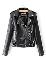 Недорогие -Жен. Кожаные куртки Уличный стиль - Однотонный