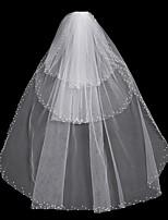 abordables -Trois couches A Fleurs / Maille / Robe Convertible Voiles de Mariée Voiles chepelle Avec Frange / Fantaisie 31,5 in (80cm) Polyester /