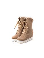 Недорогие -Жен. Обувь Бархат Наступила зима Армейские ботинки Ботинки Платформа Круглый носок Ботинки Черный / Красный / Миндальный