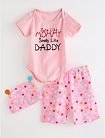 cheap -Toddler Girls' Solid Colored Polka Dot Short Sleeves Clothing Set