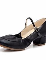cheap -Women's Modern Shoes PU Heel Performance Practice Chunky Heel Gold Black Silver