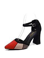 cheap -Women's Shoes Suede / PU(Polyurethane) Summer Comfort Heels Walking Shoes Chunky Heel Pointed Toe Buckle Black / Red