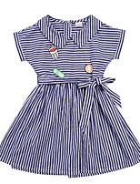 abordables -Enfants Fille Bleu & blanc Rayé Manches Courtes Robe
