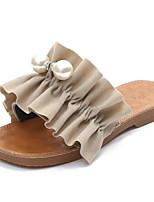 preiswerte -Damen Schuhe PU Sommer Komfort Slippers & Flip-Flops Flacher Absatz Offene Spitze Perle für Schwarz Beige Gelb