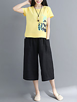 cheap -Women's Vintage T-shirt - Solid Colored Black & White, Tassel
