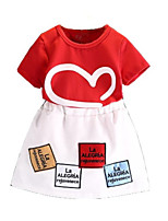cheap -Kids Toddler Girls' Geometric Color Block Short Sleeves Clothing Set