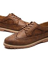 Недорогие -Муж. обувь Полиуретан Осень Удобная обувь Туфли на шнуровке Серый / Коричневый / Хаки