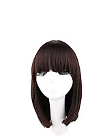 cheap -Synthetic Wig Straight Bob Haircut / Short Bob Synthetic Hair Cute / Fashionable Design / Adorable Dark Brown Wig Women's Mid Length Capless