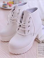 Недорогие -Жен. Обувь Полиуретан Весна / Осень Удобная обувь Ботинки На толстом каблуке Белый / Черный