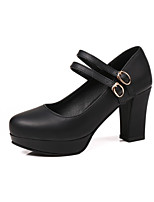 cheap -Women's Shoes Fleece / Leatherette Spring & Summer Comfort / Basic Pump Heels Chunky Heel Round Toe Black / Pink / Khaki