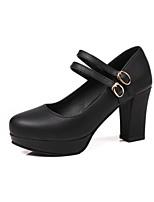 abordables -Femme Chaussures Laine synthétique / Similicuir Printemps été Confort / Escarpin Basique Chaussures à Talons Talon Bottier Bout rond Noir