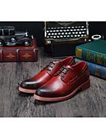Недорогие -Муж. обувь Кожа Осень Удобная обувь Туфли на шнуровке Желтый / Коричневый