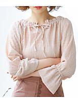 abordables -Mujer Básico Acordonado Blusa Un Color