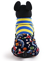 cheap -Dogs / Cats / Pets Shirt / T-Shirt Dog Clothes Patchwork / Letter & Number / Toile Stripe Cotton Costume For Pets Female Abstract / Trendy