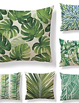 cheap -6 pcs Textile / Cotton / Linen Pillow case, Simple / Leaf / Printing Square Shaped / Tropical