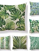 economico -6 pezzi Tessuto / Cotone / Lino Federa, Semplice / A foglia / Stampe Quadrata / Tropicale