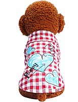cheap -Dogs Cats Pets T-shirts Dog Clothes Plaid / Check Love Quotes & Sayings Red Blue Cotton / Polyester Costume For Pets Female Spots &