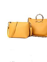 baratos -Mulheres Bolsas couro legítimo Tote Ziper para Casual Preto / Vermelho / Amarelo