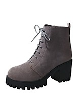 cheap -Women's Shoes PU(Polyurethane) Fall & Winter Comfort Boots Chunky Heel Booties / Ankle Boots Black / Gray / Brown