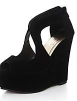 cheap -Women's Shoes Nubuck leather Summer Comfort Heels Wedge Heel Peep Toe Black