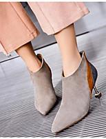 Недорогие -Жен. Обувь Кожа Осень Ботильоны Ботинки На шпильке Ботинки для Повседневные Черный Серый Миндальный