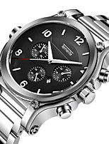 cheap -Men's Quartz Sport Watch Calendar / date / day Large Dial Casual Watch Stainless Steel Band Luxury Cool Black Silver